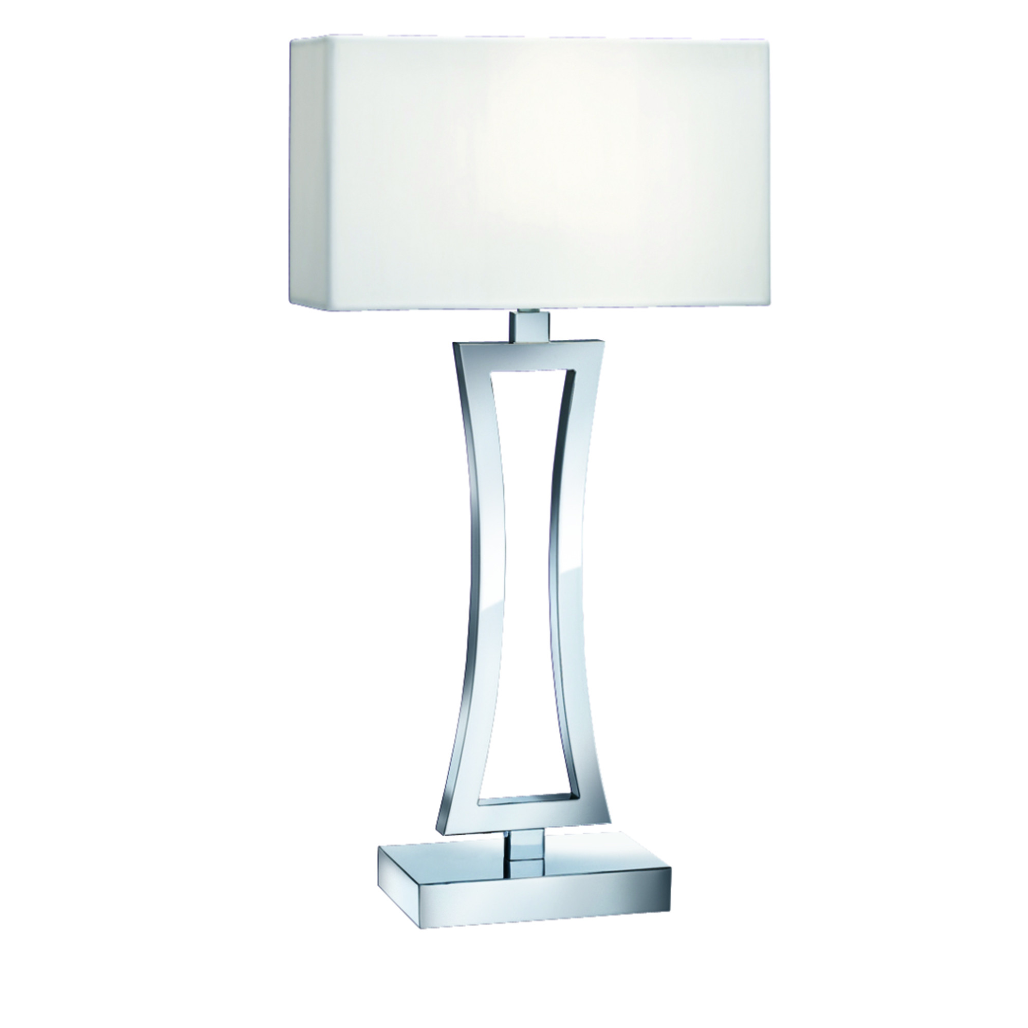 Satin Silver Curved Rectangular Table Lamp With White Oblong Shade
