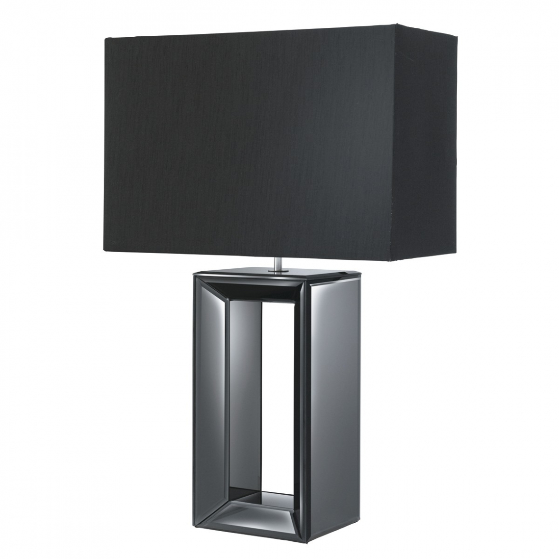 Black Mirror Reflection Table Lamp with Black Oblong Faux Silk Shade