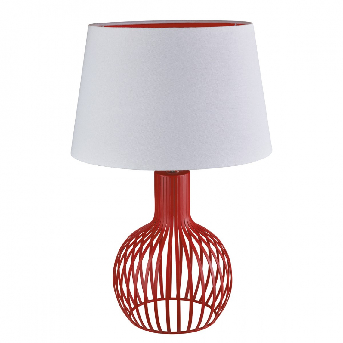 Table lamps lamps lighting modish furnishing cage red table lamp with white shade red inner mozeypictures Gallery