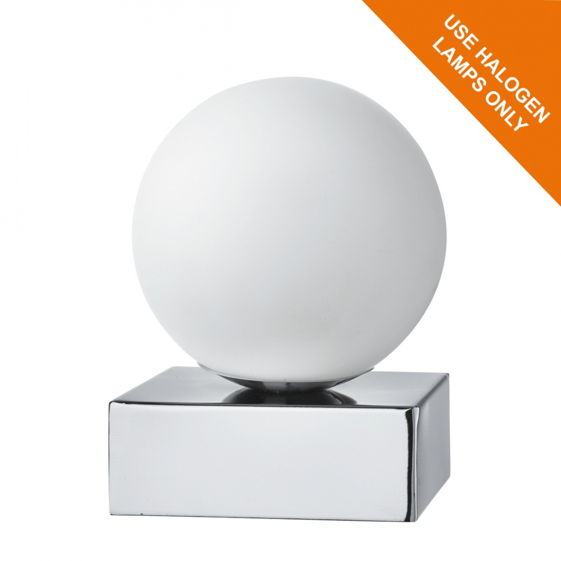 Chrome touch table lamp with round opal white glass shade modish chrome touch table lamp with round opal white glass shade aloadofball Images