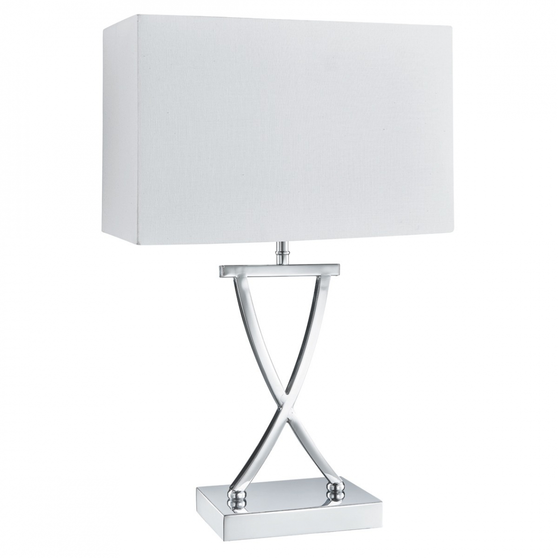 Cross Chrome Table Lamp With Drum Shade Modish Furnishing
