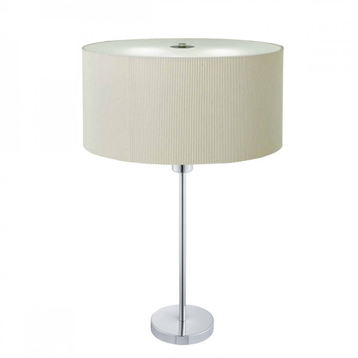 Drum Pleat Chrome 2 Light Table Lamp With Cream Shade