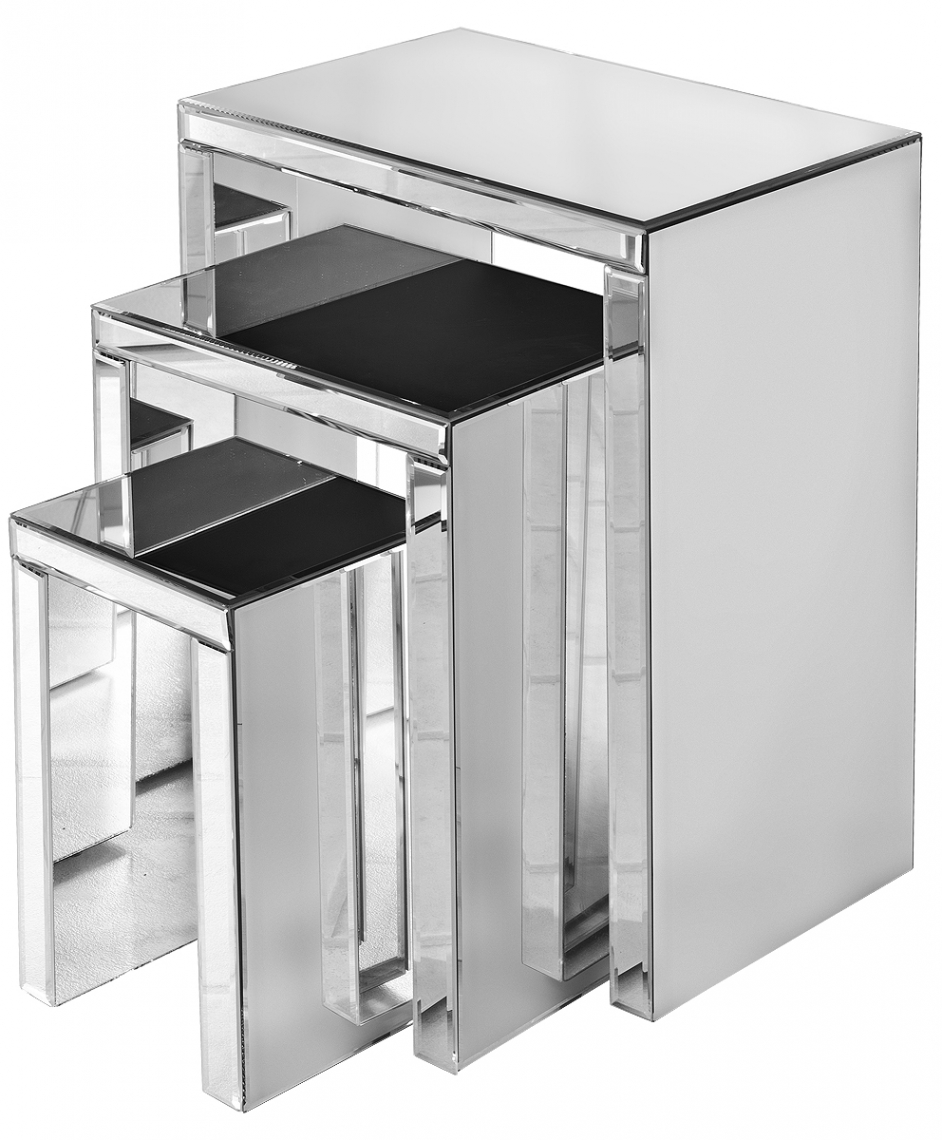 Mirrored Nest Of Tables Uk Gallery Bar Height Dining