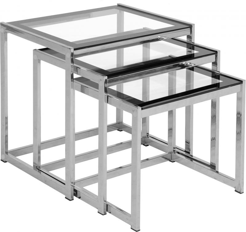 Hanley Nest Of Tables In Clear Glass Black Border Chrome