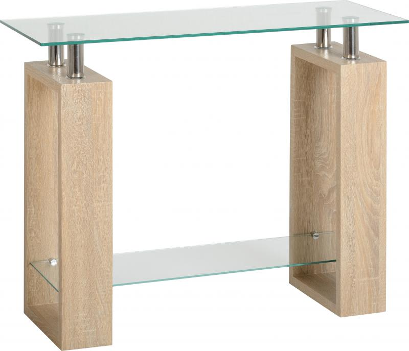 Milan Console Table In Sonoma Oak Effect Veneer Clear