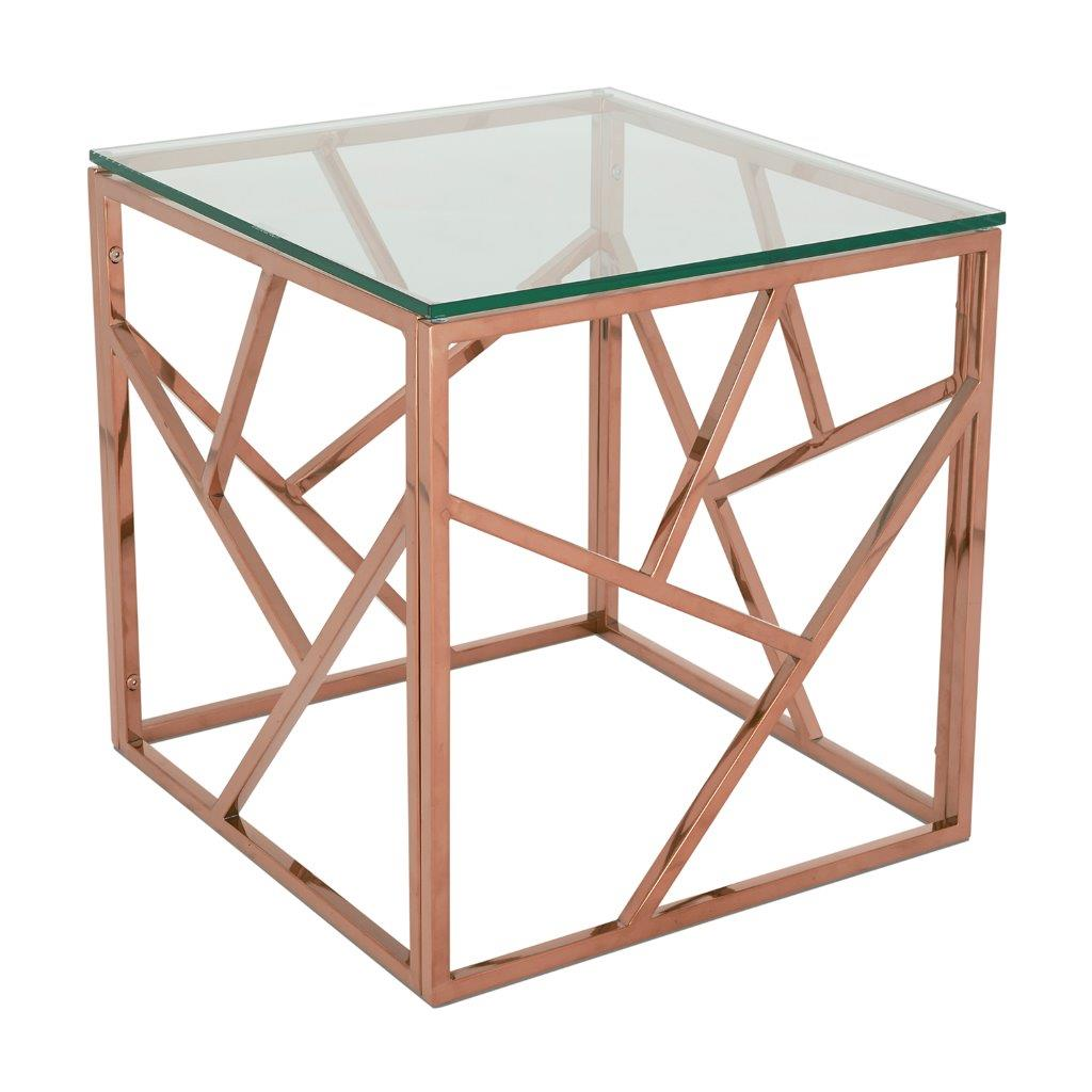 Phoenix Lamp Table Rose Gold Modish Furnishing