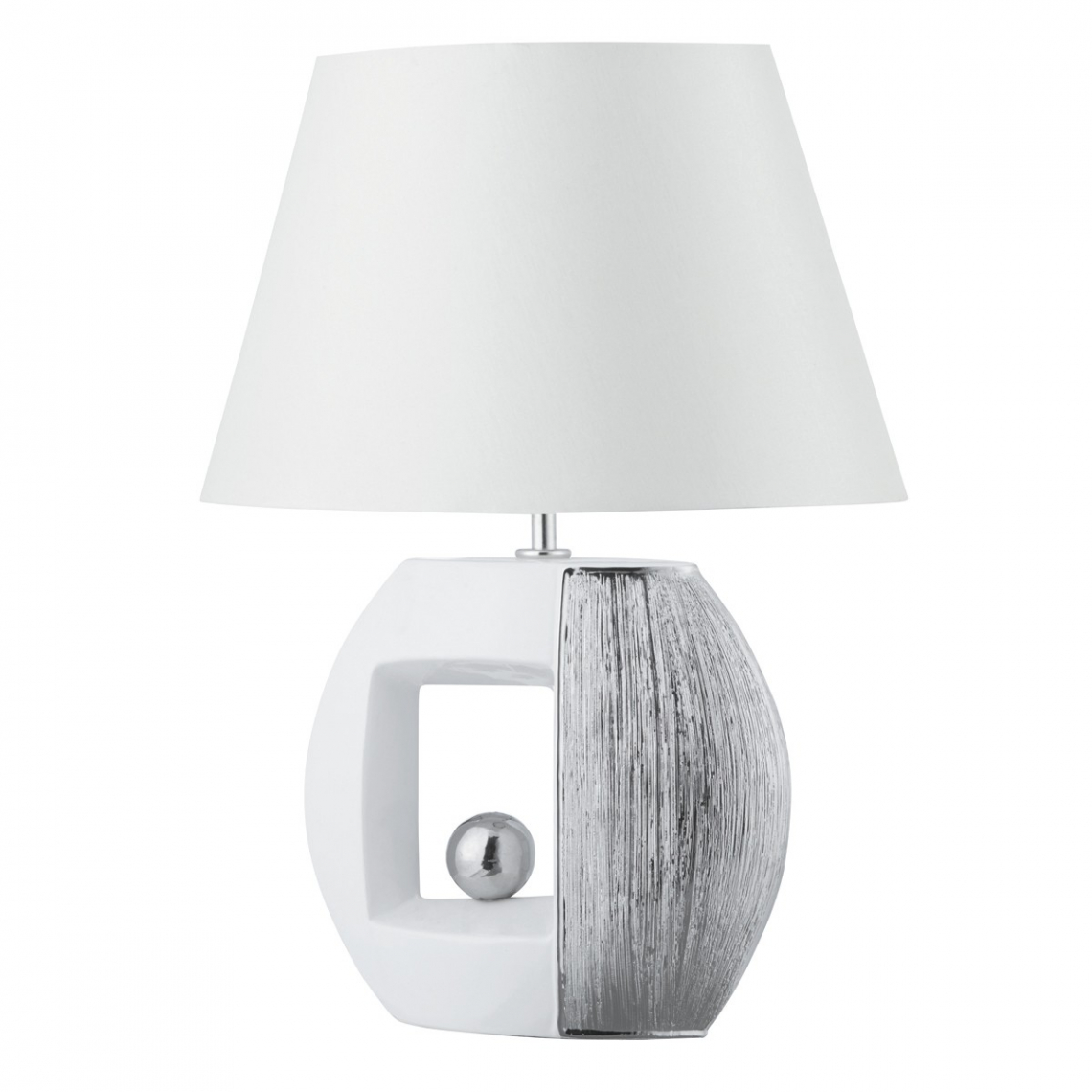 Window White U0026 Silver Stripe Oval Table Lamp With White Faux Silk Shade