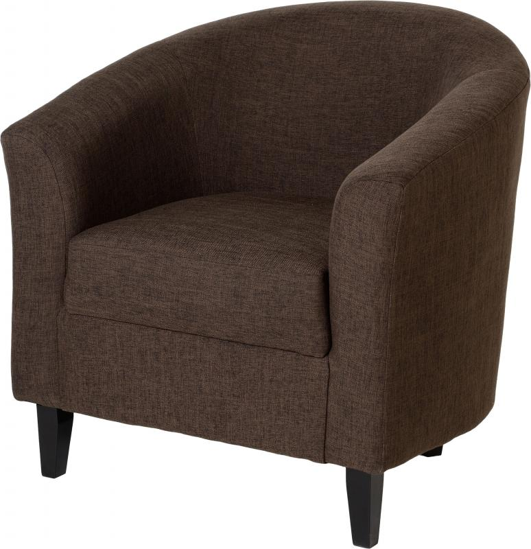 Tempo Tub Chair In Dark Brown Fabric Modish Furnishing