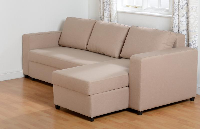Prime Dora Fabric Corner Sofa Bed In Light Brown Ocoug Best Dining Table And Chair Ideas Images Ocougorg