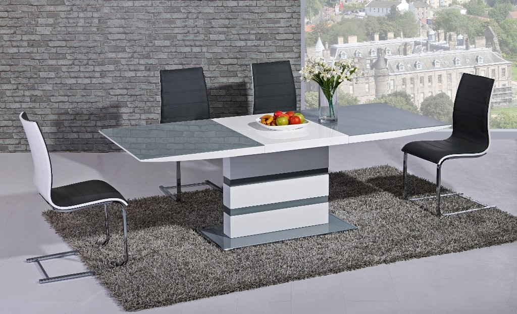 Argento Large Extending Dining Table Grey And White