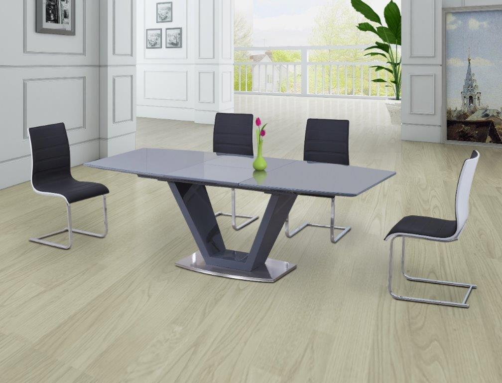 Levanto Grey Extending Dining Table With 6 Elba Grey And