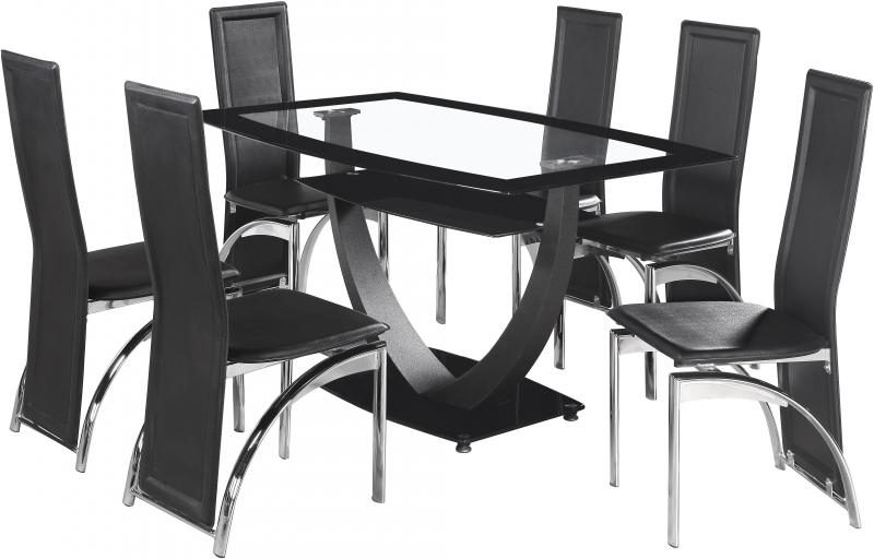 Hanley Black Glass Dining Set With 6 Black Leather Chairs