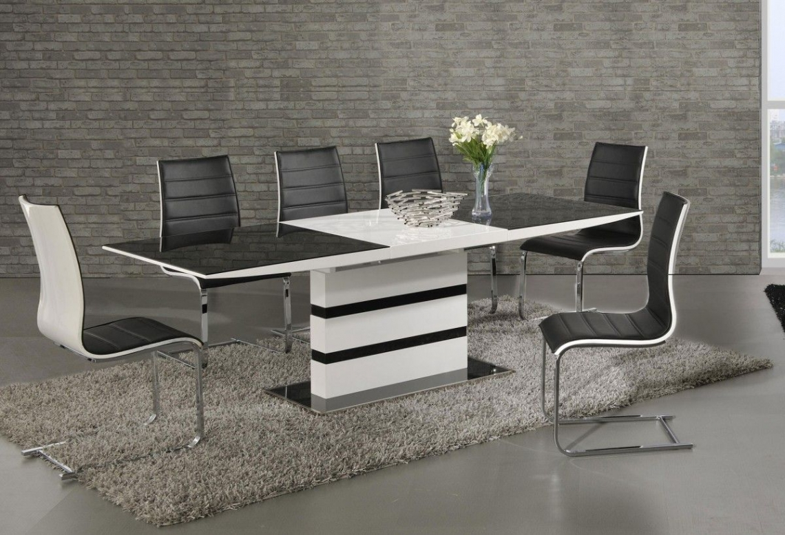 Argento large extending black and white dining table with 6 elba chairs modish furnishing - White extending dining table and chairs ...