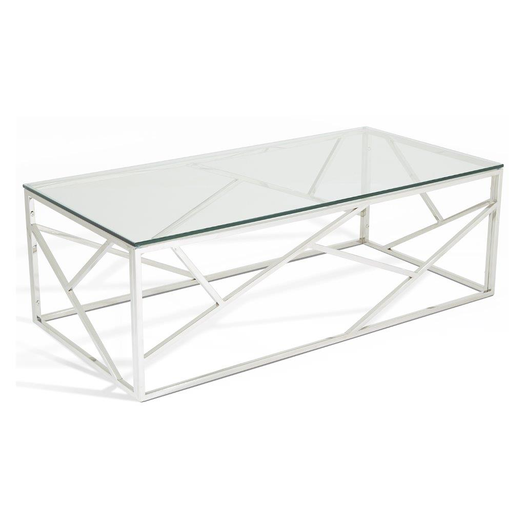 Modern Designer Large Round Coffee Table Glass Top Stainless Steel: Phoenix Coffee Table Stainless Steel