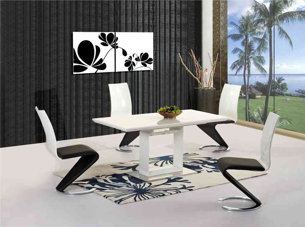 Solar White Extending Dining Table With Lorenzo Z Chairs Modish - Cheapest white extending dining table