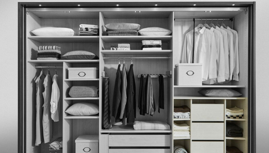 wardrobe with lots of storage compartments