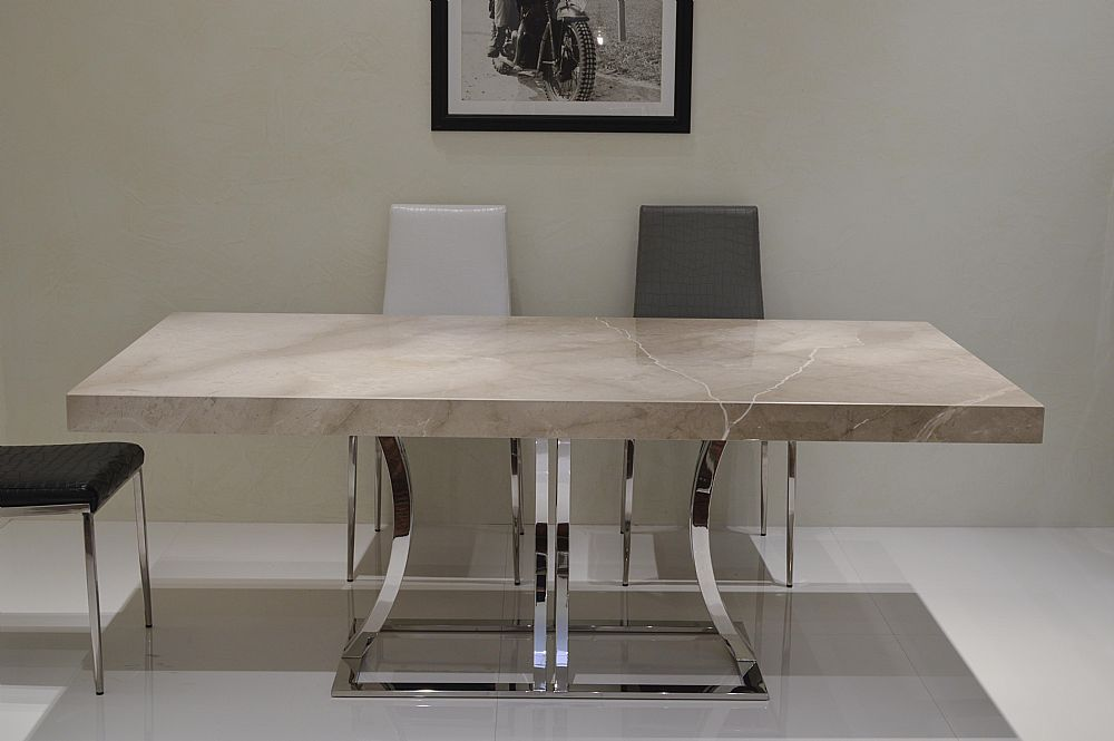 Aurora Steel Marble Dining Table By Stone International