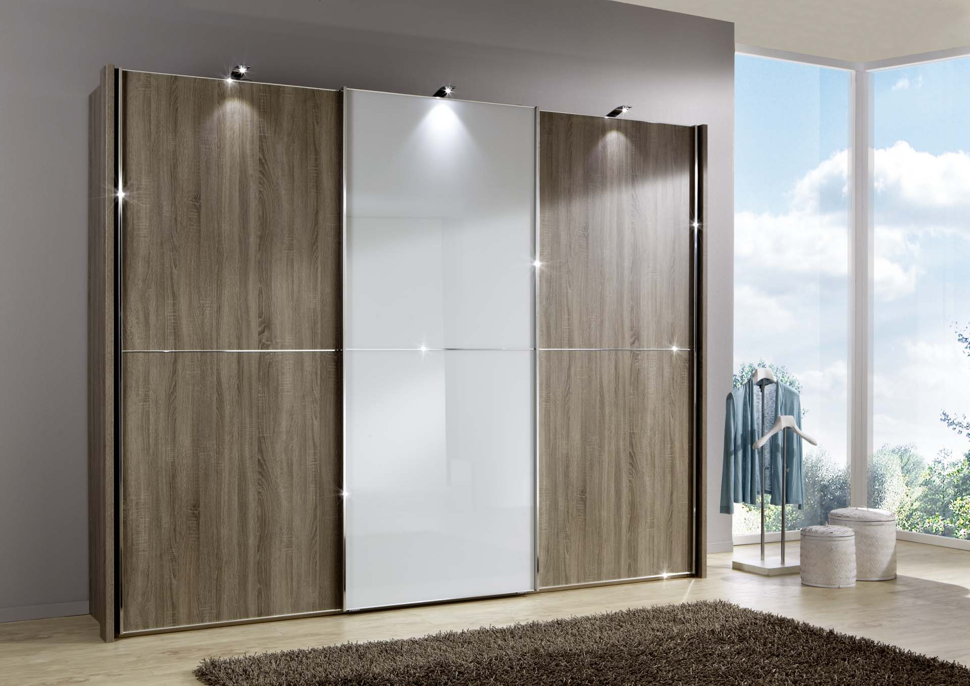 Wiemann Miami 2 Wardrobe Dark Rustic Oak With White Glass