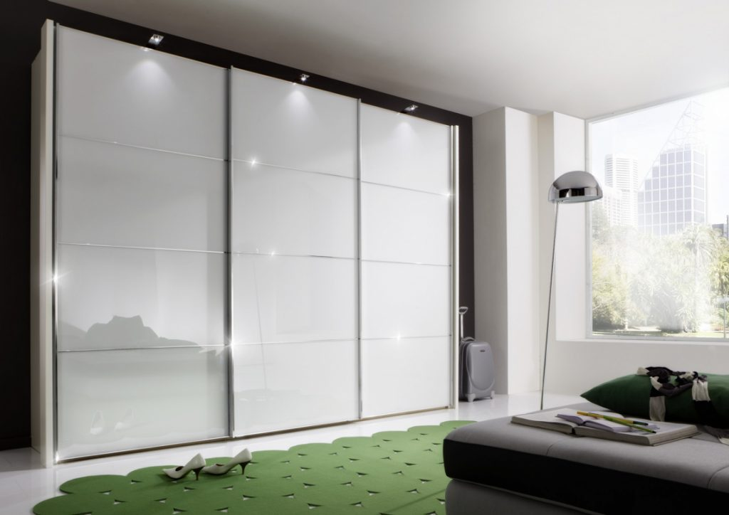 Wiemann Miami Wardrobe with White Glass, Sliding Doors and lights
