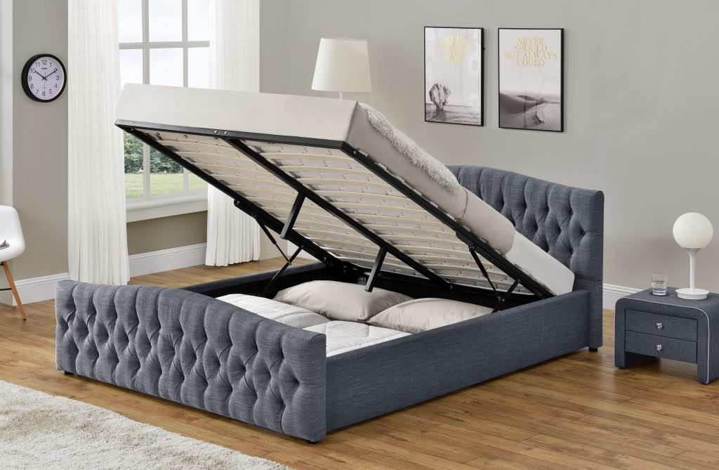Grey Linen Chesterfield Bed With Ottoman Storage Free