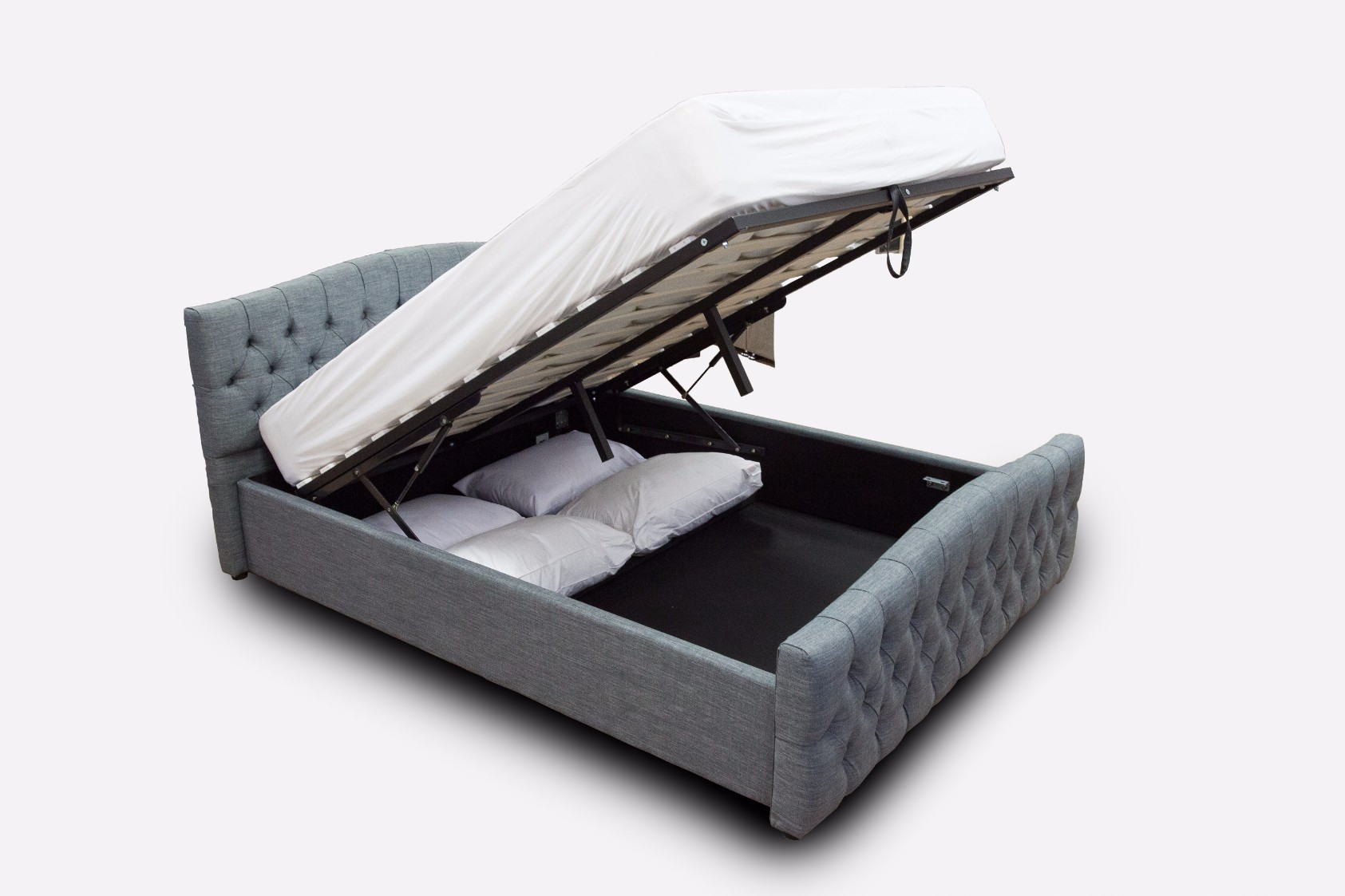 hamburg dark grey chesterfield bed with gas lift ottoman storage modish furnishing. Black Bedroom Furniture Sets. Home Design Ideas
