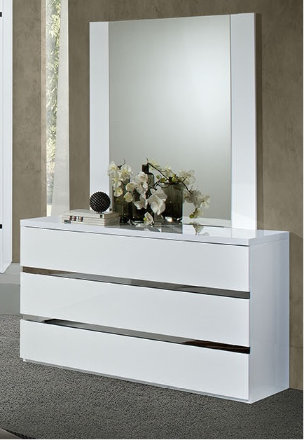 San Marino White High Gloss 3 Drawer Dresser Mirror