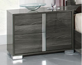 San Marino Elm Grey High Gloss Bedside Table