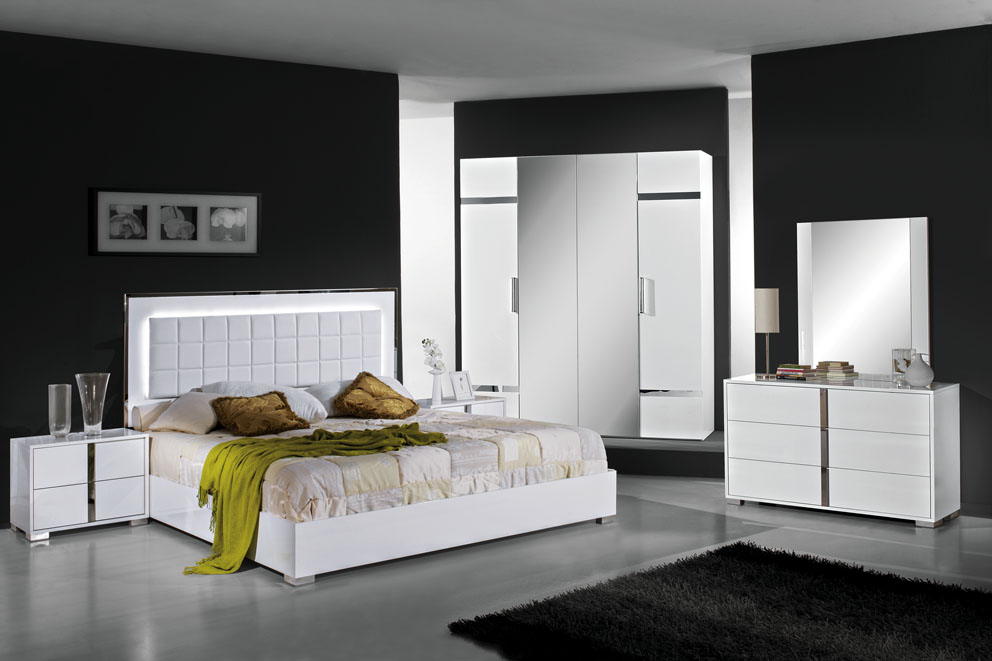 San Marino White High Gloss Bedroom Set Modish Furnishing