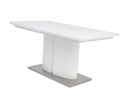 flavio white high gloss extending dining table