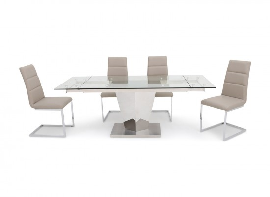 Isabella Extending Clear Glass Dining Table With 6 Zara Chairs