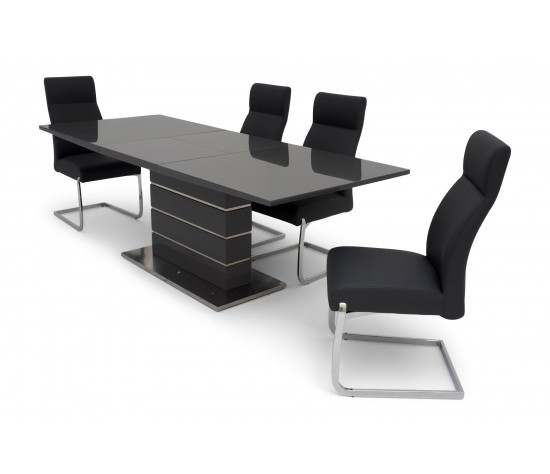 Massimo Extending Grey High Gloss Dining Table With Six