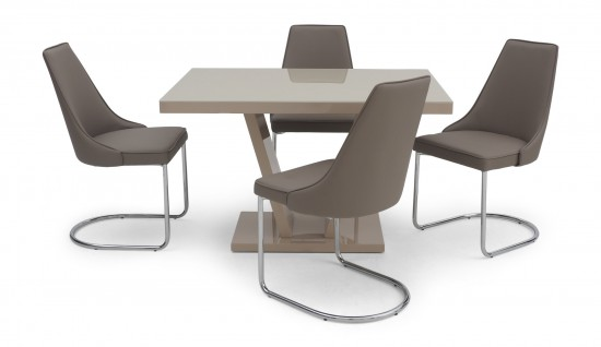 Valentino Cream High Gloss Dining Table With 4 Mya Chairs