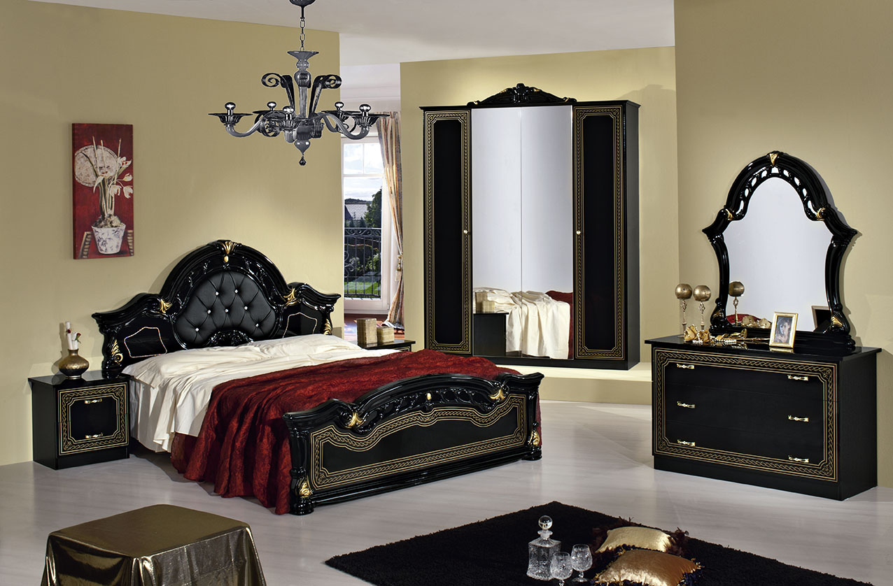 italian bed set furniture. Stella Italian Bedroom Set In Black And Gold Bed Furniture I