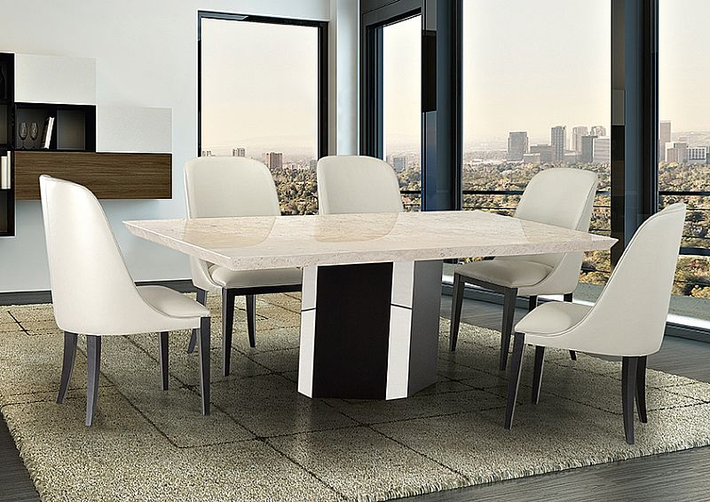 Rialto Beveled Edge Marble Top Dining Table By Stone