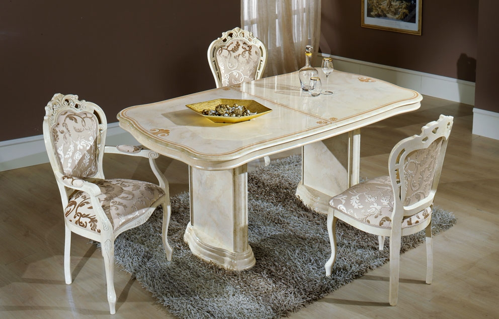 Elizabeth Extending Dining Table In Beige Marble With