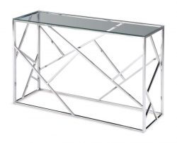 clear glass console table silver metal frame