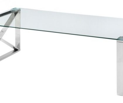 clear glass coffee table with polished steel base