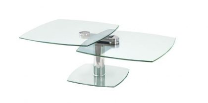 clear glass swivel coffee table