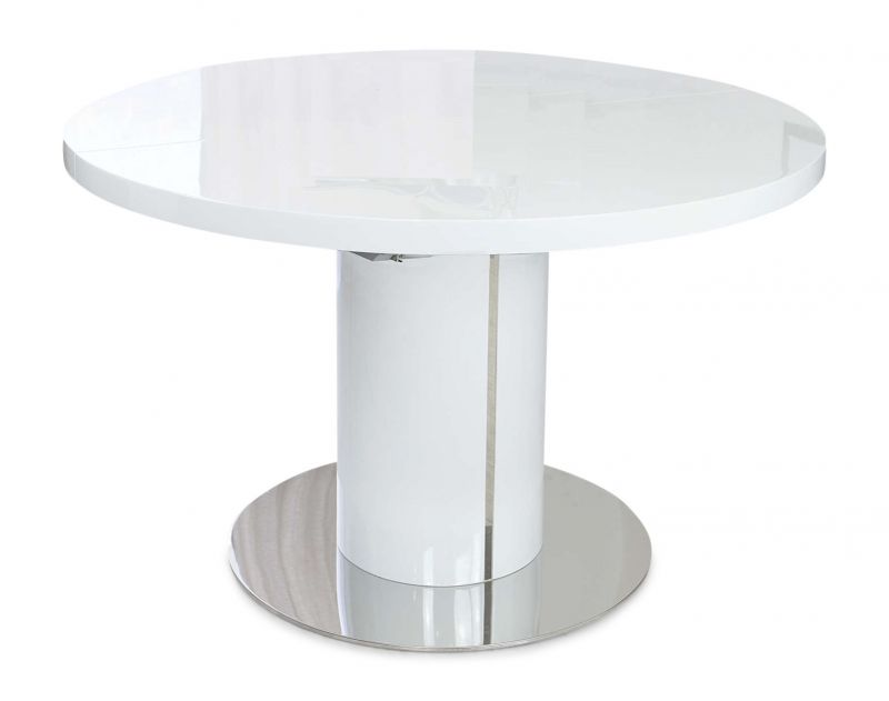 Romeo Round White High Gloss Extending Dining Table