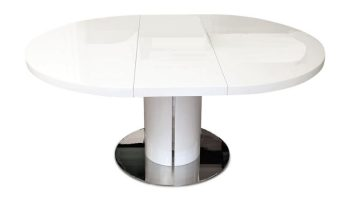 white oval dining table extending
