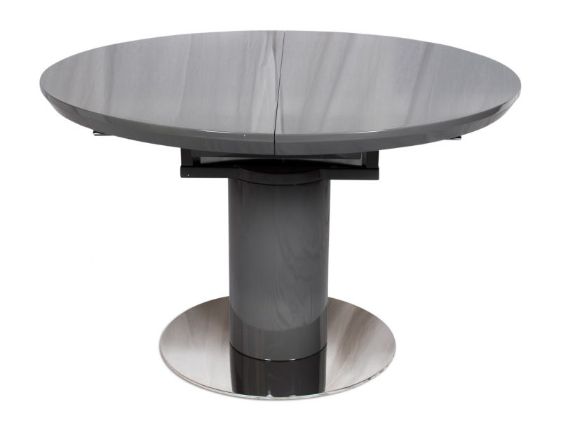 Romeo Round Grey High Gloss Extending Dining Table