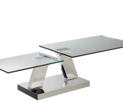 Extending clear glass coffee table silver