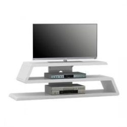 white high gloss tapered s shape tv unit