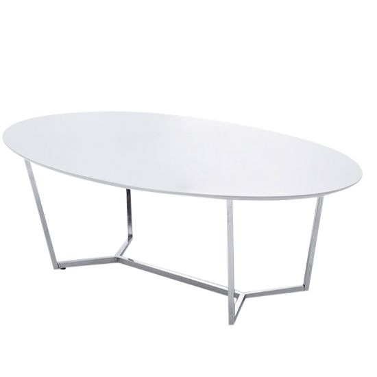 Tesla White High Gloss Coffee Table With Chrome Legs