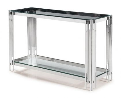 clear glass console table metal frame