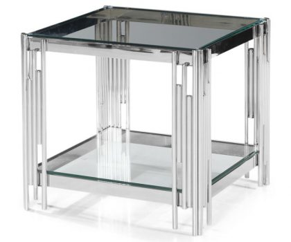 square clear glass side table lamp table