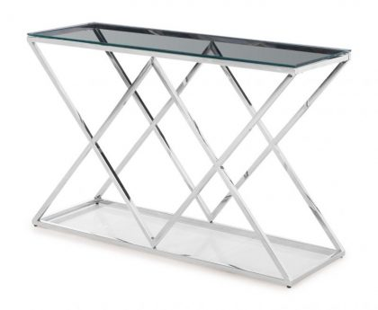 clear glass console table silver frame