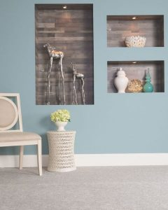 laminates in wall indent shelf