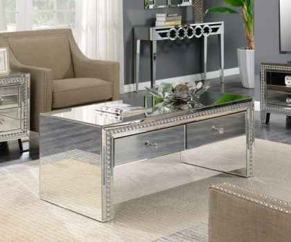 mirrored coffee table 2 drawers