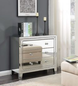 Mirrored three drawer chest of drawers